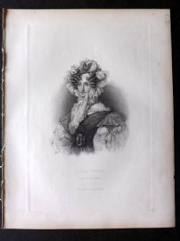 Fisher (Pub) 1845 Antique Portrait Print. Marie Amelie, Queen of the French